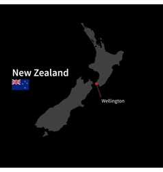 Detailed map of New Zealand and capital city vector image