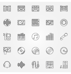 DJ linear icons set vector image