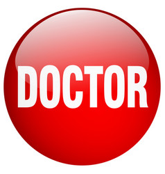 Doctor red round gel isolated push button vector