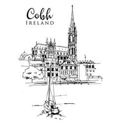Drawing sketch cobh ireland vector