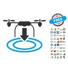 Drone Landing Icon With 2017 Year Bonus Symbols vector