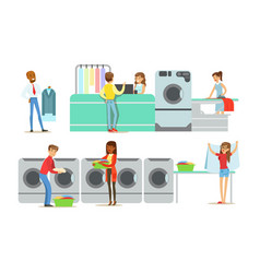 dry cleaning and laundry service set people using vector image