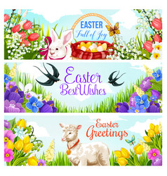 easter holiday greeting card with egg hunt basket vector image