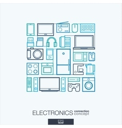 Electronics integrated thin line symbols Modern vector image