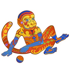 Ethnic ornamented multicolor monkey vector