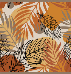 exotic seamless pattern line art palm leaves vector image