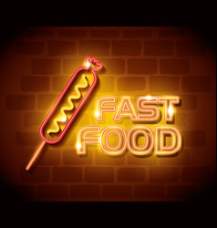 fast food sausage neon label vector image