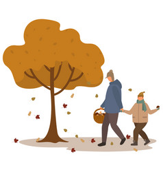Father and son gathering mushrooms in fall forest vector