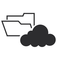 file folder and cloud icon vector image