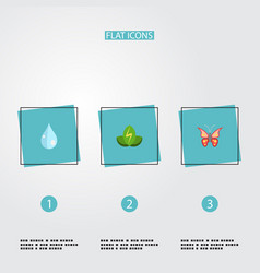 flat icons eco energy water beauty insect and vector image