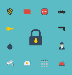 Flat icons keypad armored car brick wall and vector