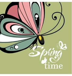Flying butterfly lettering background vector image