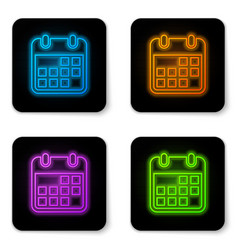 glowing neon calendar icon isolated on white vector image