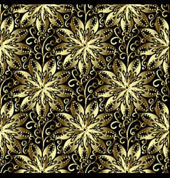 gold 3d floral seamless pattern hand drawn vector image