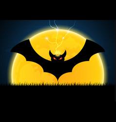 halloween bat moon thunderbolt vector image
