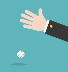 hand and dice flat design gambling concept vector image