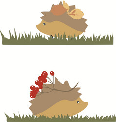 hedgehog with berries and leaves group of objects vector image
