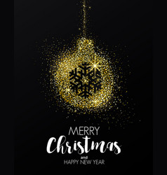 holiday new year card- golden ornament vector image