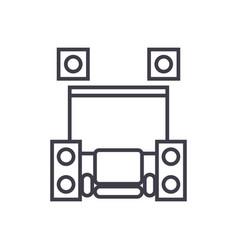 Home cinema theater concept thin line icon vector