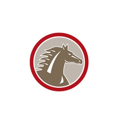 Horse Head Angry Circle Retro vector