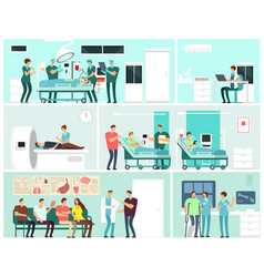 Hospital interiors with patients doctors nurse vector