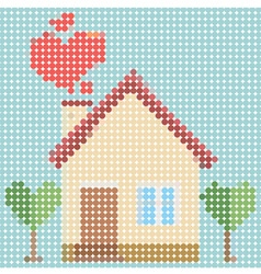 House of love with dot pattern vector image