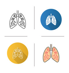 Human lungs with bronchi and bronchioles icon vector