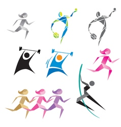 Icons of people in different sports vector image