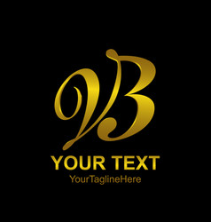 Initial letter vb logo template colored gold vector