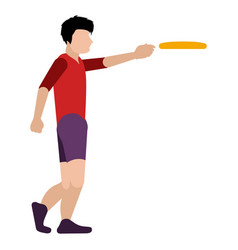 Isolated person playing frisbee vector