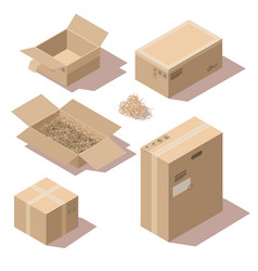 Isometric brown cardboard delivery package boxes vector