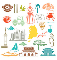 Korea icons set vector
