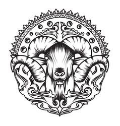 Line art mythology goat sacred geometry with a vector