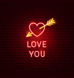 love you neon sign vector image
