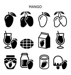 Mango fruit red icon set healthy food vector