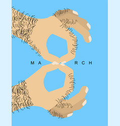 march 8 male hand with finger symbol figure eight vector image