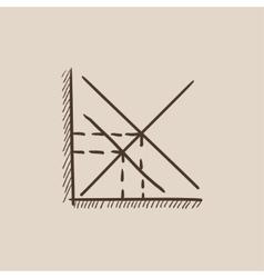 Mathematical graph sketch icon vector