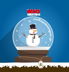 Merry Christmas snowman in snow globe vector