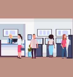 mix race people standing at cash desk atm for cash vector image