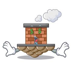 Money eye brick chimney next the cartoon roof vector