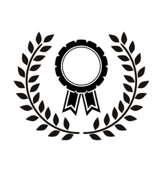 monochrome medal between olive branch vector image