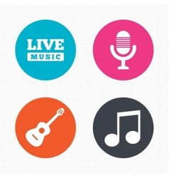 Musical elements icon Microphone and guitar vector image