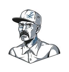 Mustached latino man in baseball cap vector