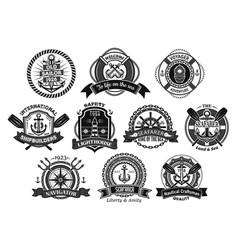 nautical seafarer marine sea sailor icons vector image