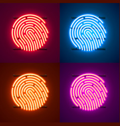neon password touch id phone sign color set vector image