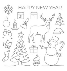 new year set in line style on white background vector image