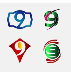 Number nine 9 logo icon set collection vector