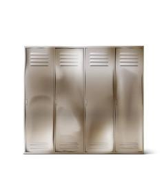 Old steel lockers in school corridor or gym vector