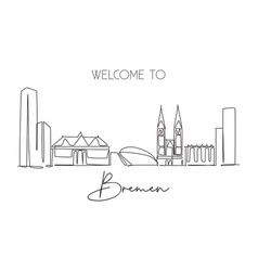 One continuous line drawing bremen city skyline vector