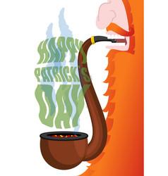 patricks day leprechaun smokes pipe red beard vector image